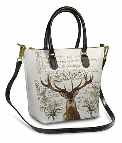 Trachtentasche/Dirndltasche/Damentasche Handtasche/Umhängetasche/Ledertasche Creme/Braun
