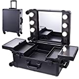Chende Black Pro Studio Artist Train Rolling Makeup Case with Light Wheeled Organizer, Hollywood Vanity Set with Mirror Lights for Dressing Room (Black)