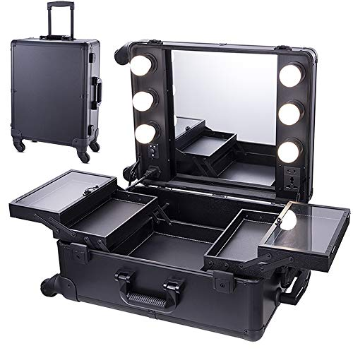 Chende Black Pro Studio Artist Train Rolling Makeup Case with Light Wheeled Organizer, Hollywood Vanity Set with Mirror Lights for Dressing Room (Black) (Rolling Makeup Case With Lights And Mirror)