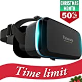 Pansonite Premium 3D VR Glasses with Adjustable Lenses & Head Strap, More Lightweight and Comfortable Virtual Reality headset for 3D Movies and Games, Fit for iPhone and Android Smartphone.