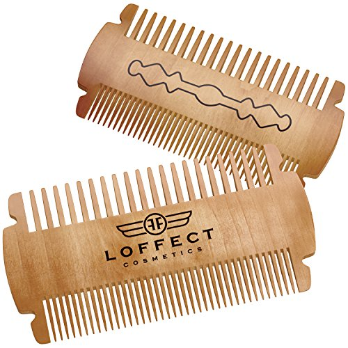 Wood beard comb for men - Wooden comb for MUSTACHES - Mens beard pocket combs with Leather case - GROOMING set no Curls and Tangles - Dual bristle - Travel size