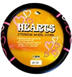 Simulated Leather Wheel Cover with Embossed Logo - Pink Hearts
