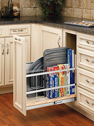 Rev-A-Shelf - 447-BC-8C - 8 in. Pull-Out Wood Base Cabinet Tray Divider and Foil & Wrap Organizer