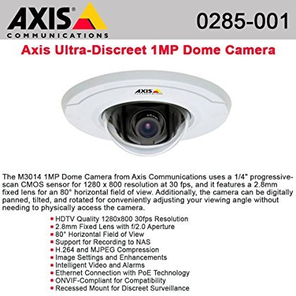 Axis, M3014 Fixed Dome Network Camera Network Camera Dome Color 1280 X 960 Fixed Iris 10/100 Mjpeg, H.264 Poe