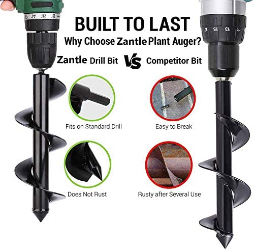 """Zantle Garden Auger Drill Bit Garden Auger Spiral Drill Bit 3"""" x 12"""" Rapid Planter for 3/8"""",Hex Drive Drill - for Tulips, Iris, Bedding Plants and Digging Weeds Roots (3"""" x 12"""")"""