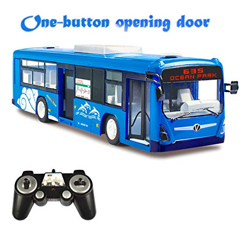 SOWOFA Remote Control City Bus Transport Toy Car One-Button Auto Opening Doors Headlight Taillight w/ Sound for Kids 6+