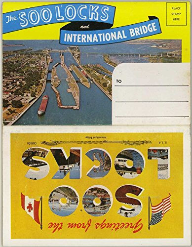Sault Ste. Marie - Soo Locks & International Bridge - Michigan - 1967 Hiawatha Card Co. Souvenir Postcard Folder #P90963