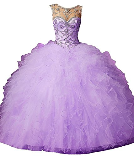 Dearta Women's Ball Gown Scoop Neck Tulle Quinceanera Dresses Lilac US 12 (Big Poofy Dresses)
