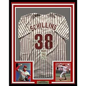 Framed Autographed/Signed Curt Schilling 33x42 Philadelphia Phillies Pinstripe Baseball Jersey JSA COA