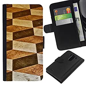 KLONGSHOP // Tirón de la caja Cartera de cuero con ranuras para tarjetas - Arte Polígono Bloquear Diamond - LG G3 //