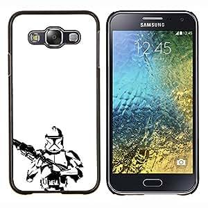 "Be-Star Único Patrón Plástico Duro Fundas Cover Cubre Hard Case Cover Para Samsung Galaxy E5 / SM-E500 ( Minimalista B & W Tormenta Tropa"" )"