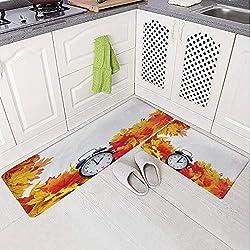 2 Piece Non-Slip Kitchen Mat Rug Set Doormat 3D Print,Alarm Clock Fall Season Theme Romantic Digital,Bedroom Living Room Coffee Table Household Skin Care Carpet Window Mat,