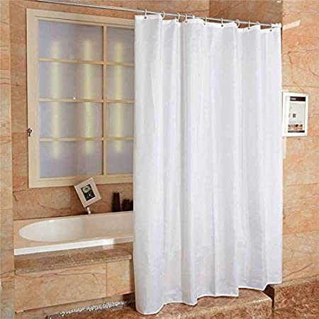 Fabric Shower Curtain Plain White Extra Wide Long Standard With Hooks Ring 300 Width X 200 Length Amazoncouk Kitchen Home