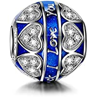 """NinaQueen ♥Christmas Gifts for Girls♥ 925 Sterling Silver Charms Engraved with""""I Love You to the Moon and Back"""" Shimmering Heart Midnight Blue Enamel Beads Charm for Bracelet & Necklace"""