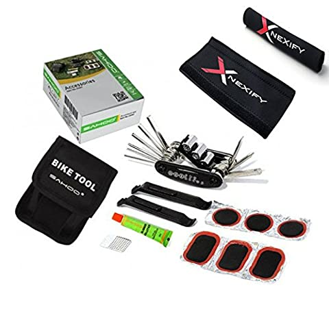 Nexify Bicycle Tool Kit with Wrench, Tire Patches and Bike Chainstay Protector - Multifunction Set to Repair Flats, Change Gears and More - Attaches to Belt or Backpack