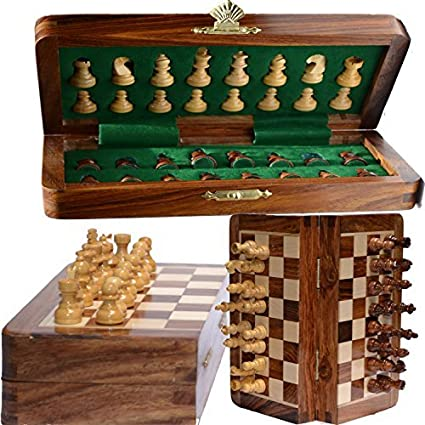 Lovely Chess Bazar   Magnetic Travel Pocket Chess Set   Staunton 7 X 7 Inch  Folding Game