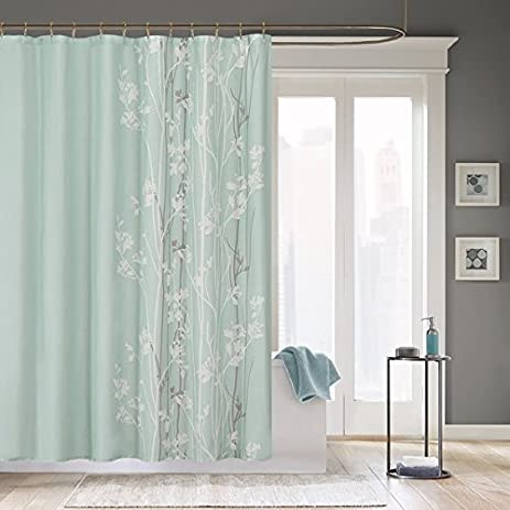 1 Piece Light Green White Graphical Nature Themed Shower Curtain, Polyester  Detailed Beautiful Flower Tree