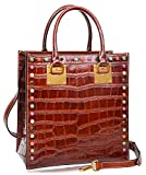 PIJUSHI Women Top Handle Satchel Handbags Tote Purse Crocodile Leather Bag 6898(One Size, Brown Croco)