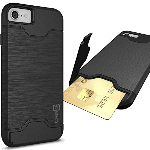 CoverON [SecureCard Series] Fit iPhone 8 Case with Card Holder, iPhone 7 Case, Protective Hard Hybrid Cover with Credit Card Slot and Kickstand Phone Case for Apple iPhone 8/iPhone 7 - Black