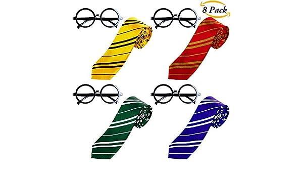 Aneco 4Sets corbata a rayas con novedad marco de gafas para Harry ...