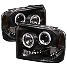 Spyder Auto PRO-YD-FS05-HL-BK Ford F250/350/450 Super Duty Black Halo LED Projector Headlight with Replaceable LEDs