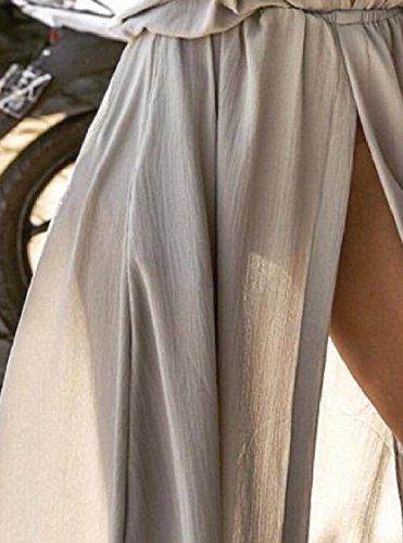 V Solid Mid Dress Split Neck Grey Coolred Swing Sleeve Deep Women Long Maxi tRWYqH