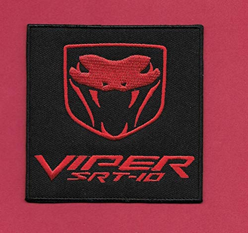 Iron On Embroidered Patch Top Quality New Dodge 'Viper SRT 10' Iron on, 3 1/2 X 3 1/2