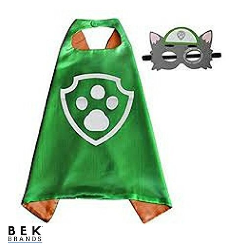 Kids Dress Up Cape and Mask Costume for Superhero Party Favors, Halloween, and More (Rocky with Paw) Blue