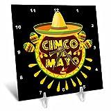 3dRose Sven Herkenrath Celebration - Cinco de Mayo Mexican Style Lettering and Sombrero on Black Background - 6x6 Desk Clock (dc_280382_1)