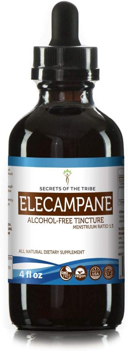 Elecampane Alcohol-Free Liquid Extract, Organic Elecampane Inula Helenium Dried Root Tincture Supplement 4 FL OZ
