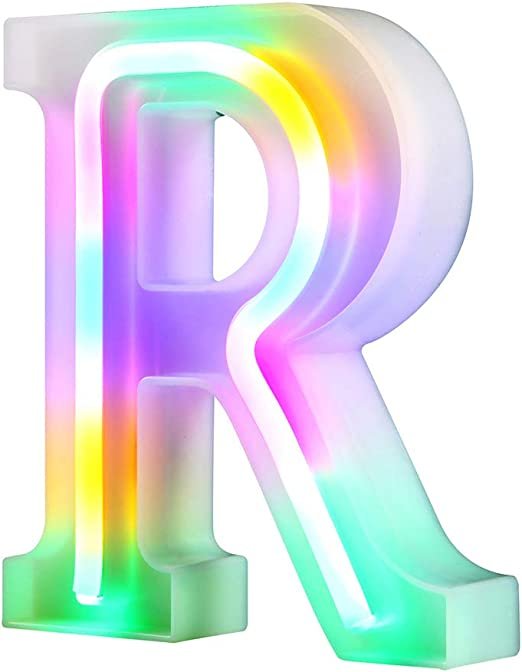 WARMTHOU Neon Letter Lights 26 Alphabet Letter Bar Sign Letter Signs for Wedding Christmas Birthday Partty Supplies,USB/Battery Powered Light Up Letters for Home Decoration-Colourful R
