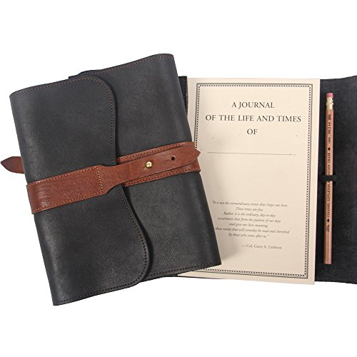 Leather Writing Journal Notebook Black Brown Refillable Unlined Pages by Col. Littleton (Image #5)