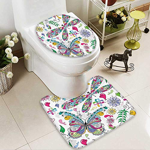 Paisley Butterfly Rug (Muyindo 2 Piece Bathroom Contour Rugs Butterfly and Dragfly Paisley Complex Structured Motifs with Diverse Ethnic Line Non Slip Comfortable Snd Soft)