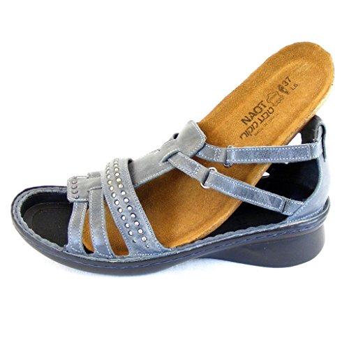Naot Damen Schuhe Sandaletten Serenade Echt-Leder blaugrau 14319 Wechselfußbett