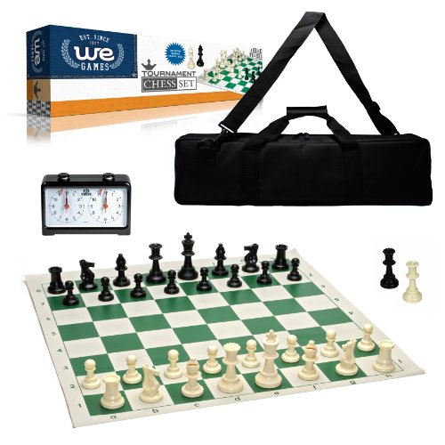 (WE Games Complete Deluxe Tournament Chess Set, Black Canvas Bag, Heavy Weighted Staunton Chess Pieces, and Royal Crest Analog Chess Clock/Timer)