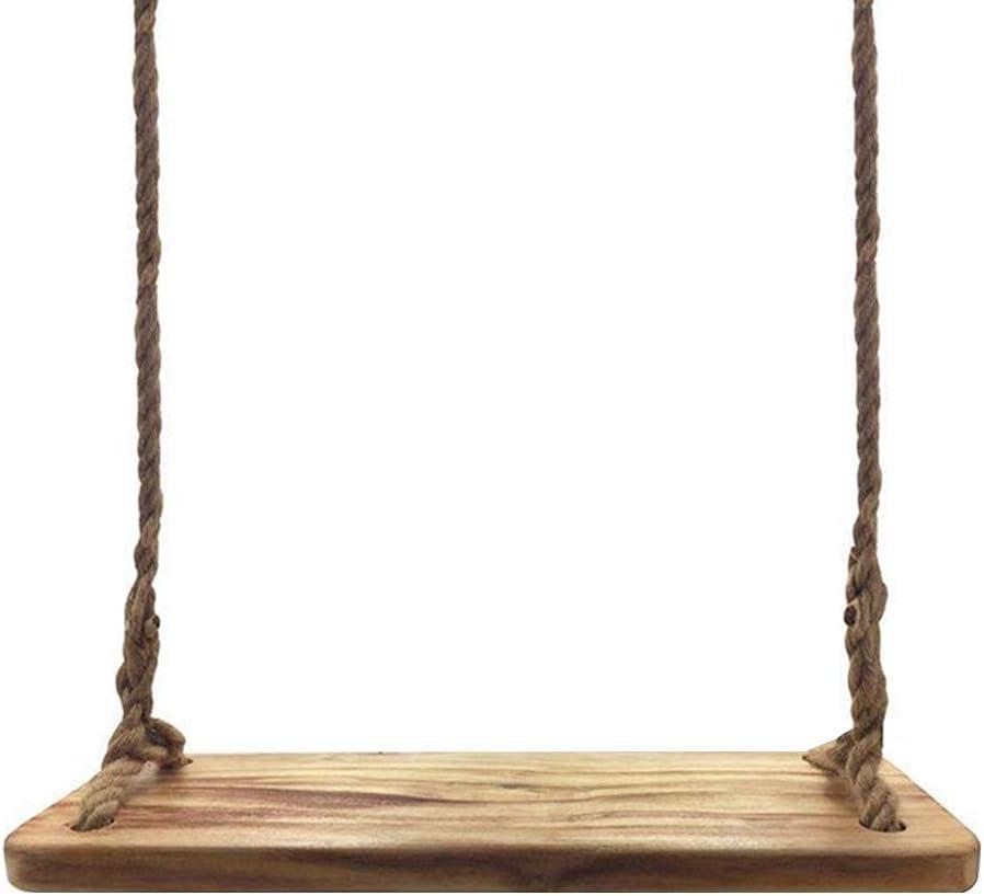Aoneky Columpio de Árbol de Madera para Niños Adultos - Columpio con Cuerda para Jardín Casa Exterior Interior, Asiento de Madera Sólida, Juguete Juego Infantil, Accesorios al Aire Libre, Marrón