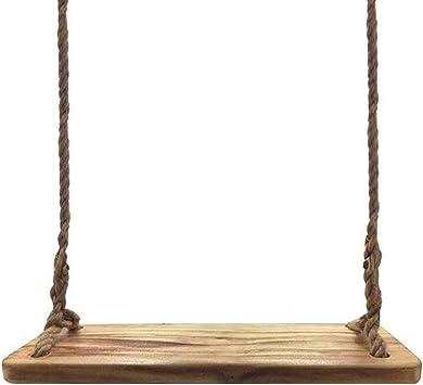 Aoneky Columpio de Árbol de Madera Colgante - Columpios Infantiles para Jardín Exterior, Columpio con Cuerda de 3M para Adultos y Niños, Carga de 160kg, Asiento de Madera Paulownia 60×20cm, Marrón: Amazon.es: