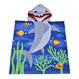 SearchI 32 Yarns Long-staple Cotton Kids Hooded Poncho Towel, Shark Undersea Cute Cartoon Beach Pool Bath Towel for Boys Girls Blue Gray