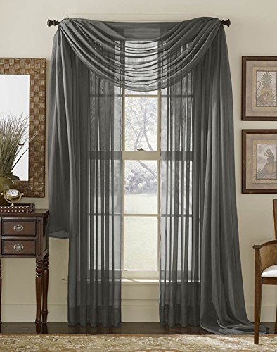 HLC.ME Charcoal Grey Sheer Voile Window Curtain Scarf - Valance - Fully Stitched & Hemmed - 56