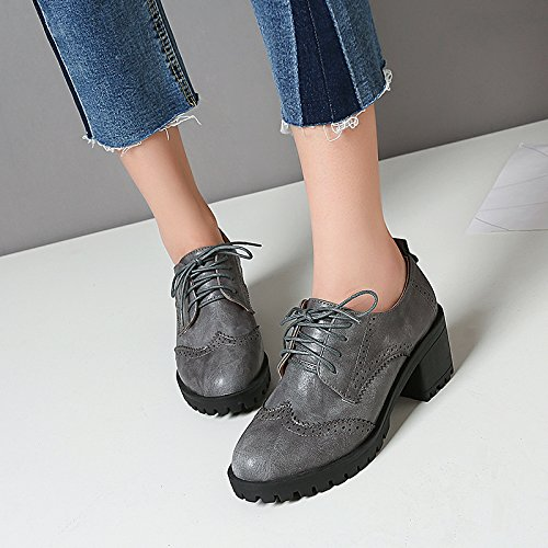 Grey Casual Shine Oxfords Up Show Women's Lace Shoes Platform Chunky Heel qRv7pw1