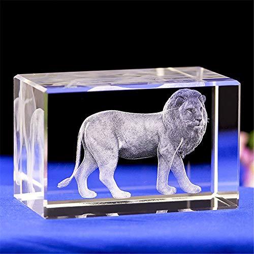 (Lucky House Crystal Glass Cube Animal Lion3D Laser Sculpture Statue Feng Shui Souvenir Crafts )