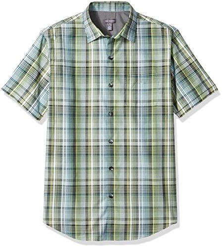 Van Wick (Van Heusen Men's Air Short Sleeve Yarndye Shirt, Green Obi, X-Large)