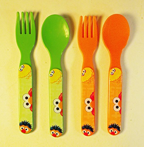 Set of 4 Sesame Street Ernie, Elmo & Big Bird Plastic Forks & (Bird Fork)