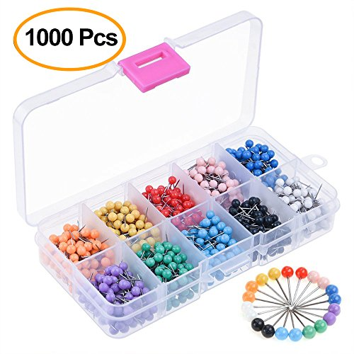 Kuuqa 1000 Pieces 1/8 inch Map Push Pins Map Tacks 10 Colors (Each Color 100 PCS) ()
