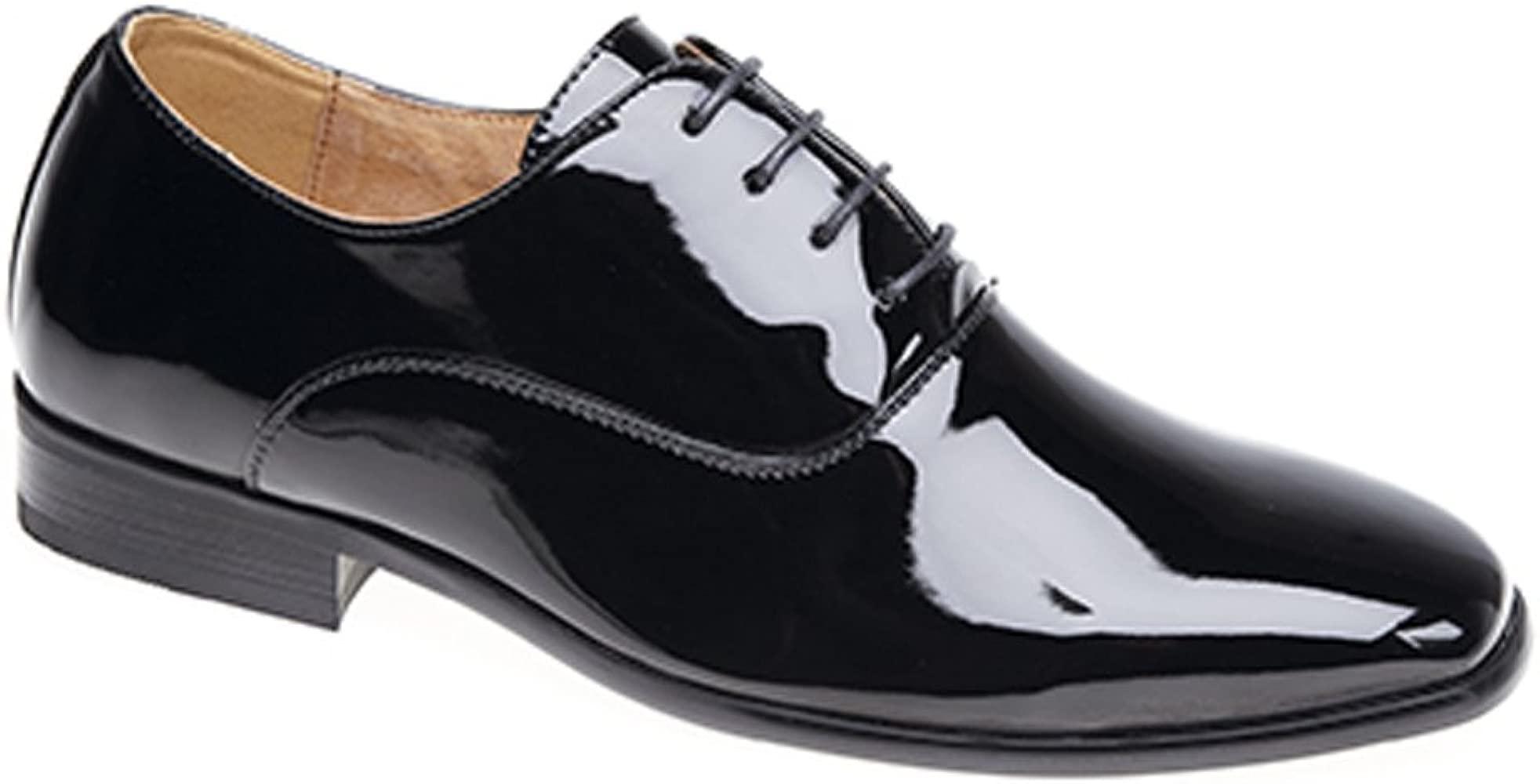Herren Abenduniform Schwarz Lack Oxford Krawatte Schuhe