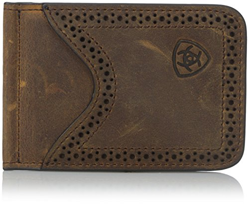 (Ariat Ariat Shield Perforated Edge Money Clip Money Clip Medium Distressed Brown One Size)