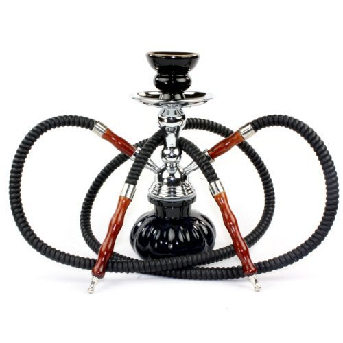 "GSTAR 11"" Premium 2 Hose Hookah Complete Set - Mini Pumpkin Hookah Glass Vase - Pick Your Color (Ninja Black)"