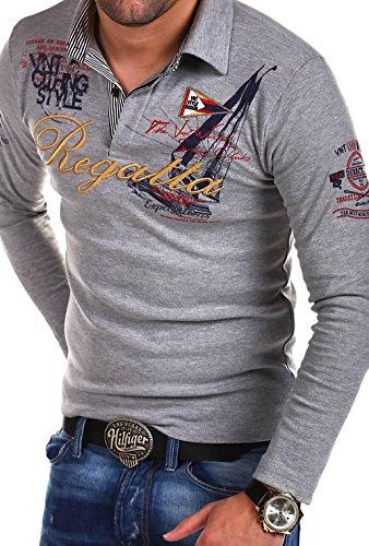 MT Styles Langarm Poloshirt REGATTA T-Shirt R-0665 [Grau, L]