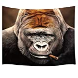 Animal Decor Tapestry By JAWO Funny Giant Gorilla With Smoke In Mouth Wall Art Hanging for Bedroom Living Room Dorm 71X60Inches Wall Blankets, Brown
