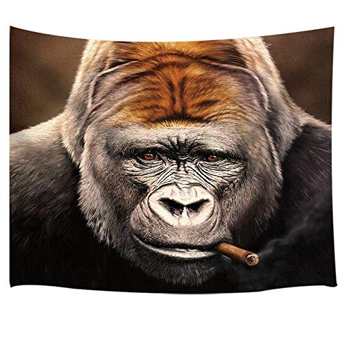 Animal Decor Tapestry By JAWO Funny Giant Gorilla With Smoke In Mouth Wall Art Hanging for Bedroom Living Room Dorm 71X60Inches Wall Blankets, Brown by JAWO